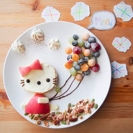 创意儿童餐 可爱的小狐狸拼盘(面包圈 草莓)